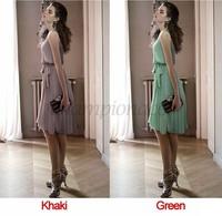 2014 Fashion Korea Women's Elegance Bow Pleated Vest Chiffon sashes Dress Round Collar Sleeveless Dress Free Shipping B16 10259