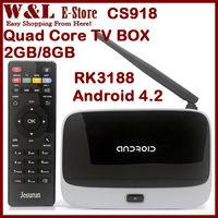 Original Quad Core Andriod TV Box CS918 MK888 Bluetooth MK888B T-R42 RK3188 2GB 8GB WIFI AV HDMI Smart TV With Remote Controller
