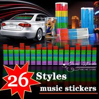 Free shipping 26 design Sound Rhythm Music Activated EL Equalizer Car Sticker Glow Flash Panel Multi Designs LED car music light