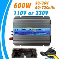 600W MPPT micro Grid Tie Inverter 30V 36V panel 72 Cells MPPT function Pure Sine wave 110V 220V output on grid tie inverter