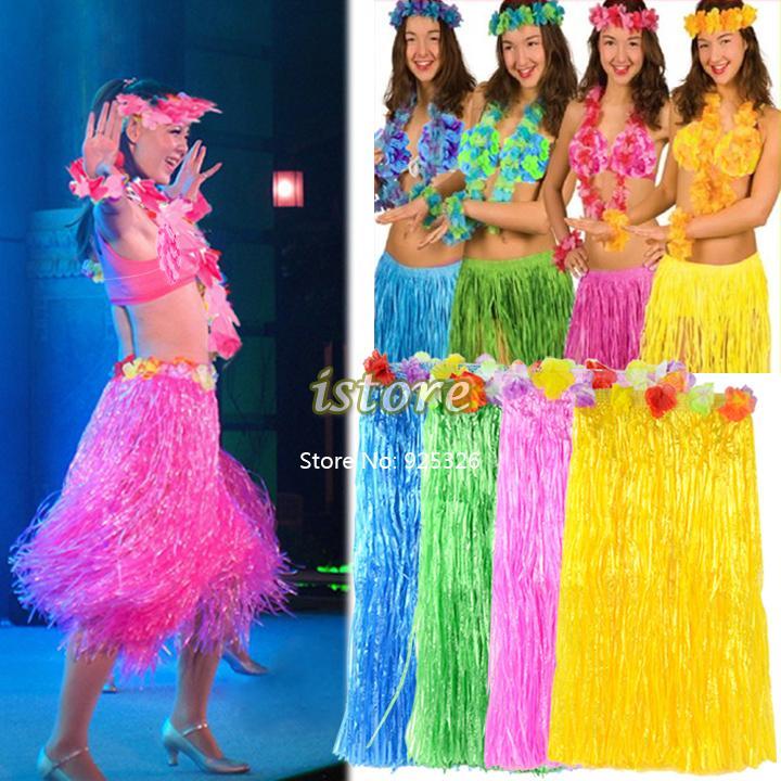 4sets/lot seis- pedaço conjunto atacado praia havaiana festa saia de grama de flores do vestido extravagante hula lei traje 16588 guirlanda(China (Mainland))