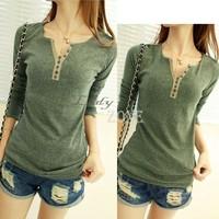 Fashion Women's Girls Cotton Long Sleeve T-shirt Bottoming Shirt Top 4Colors 9533