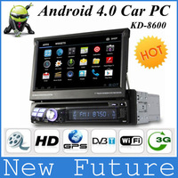 KD-8600 android 4.0 Car DVD for 7 inch 1 din car pc with GPS 3D rotatingUI PIP ATV FM/RDS Subwoofer Aux In Telephone book
