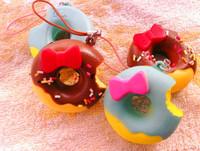 4.5cm Kawaii Bread Bag Charm Squishies Free Shipping Wholesale Doughnut Rare Squishy Donut/Squishys Keychain for Phone