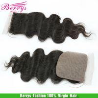 6A Berrys hair,Brazilian Virgin Hair body wave Silk Base closure 8-22inch in stock cheap price hair extensions
