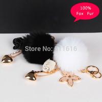 Creative Luxury Fox Fur Ball Keychain For Women Brand Bag Charm Trinket Fashion Handbag Key Chain Keyring Novelty Items