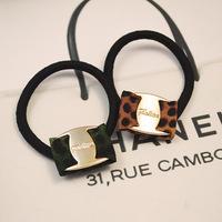 2014 fashion elastic hairband new leopard  flower  hair ties  girls  ponytail holder wholesale  24 pcs/lot   free shipping