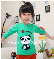 FREE SHIPPING cute girls autumn long sleeve kids wear embroidered modern girl bunnies 100% cotton Girls long sleeve T-shirt