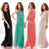 2014 New Women Bohenmia Pleated Wave Lace Strap Princess Chiffon Maxi long dress Four Colors Hot Sell DropSHIPPING B16 3694