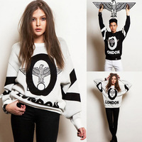 2014 Europe America Fashion Punk Round Loose Letter Eagle Printed Pullover Sweatshirts For Women/Men Boy London Hoodies Tops