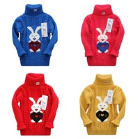 new 2013 autumn winter sweater Rabbit cartoon sweater Turtleneck pullovers Knitted bottoming shirts for girl boy baby sweater