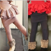 (90-140cm) 6pcs/lot Autumn Winter Thick Girls Skirt Leggings For Kids Children Warm Leggings With Skirt Pants Pink  Brown
