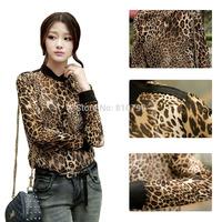 Fashion Leopard Printed roupas femininas Chiffon Shirts Women Sexy Blouse See-through Tops Shirt plus size blusas femininas 2014