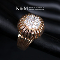(Min order is $10) Free Shipping New Arrival Gold and  Rhodium Plated Ring Illustrious Zircon Jewelry for Women