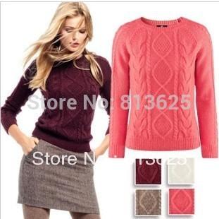 Free Shipping 2013 Hot Sale Women Long Sleeve Pullover Crochet Hollow Knitwear O-neck Jacquard Sweater