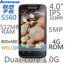 Original   Lenovo S560 Multi language Mobile phone 4.0IPS 800×480 MTK6589 Dualcore1G 512MBRAM 4GROM  Android 4.0 5MP
