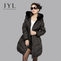 New 2013 brand design down winter woman long raccoon fur coat with real fur hood,4XL plus size women winter fur coat outerwear