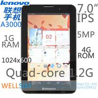 Original Lenovo A3000 Multi language IdeaTab Tablet PC 7.0IPS 1024x600 MTK8389 Quadcore1.2G 1G RAM 4G 8G 16G ROM Android 4.2 5MP