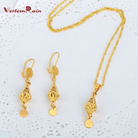 WesternRain 2015 New Wholesale 24k Gold Lovely Pendant Chain Necklace&Earrings Fashion Jewelry Sets,Free shipping