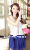 100% chiffon blouse with 9 colors available women shirts in 2013 hot summer M/L/XL vest top for all ladies need 8099#