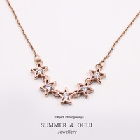 18K Rose Gold Plated 5 star with CZ stone jewelry Necklace