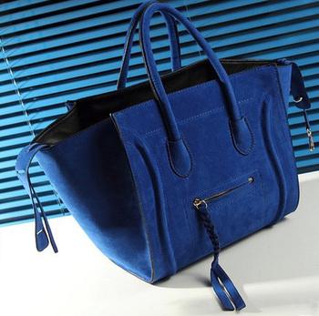 PU Suede Scrube Tassel Phantom Tote Bag,New Women Luxury Classic Designer Inspired Celebrity Leather Smile Face Smiley Handbag