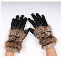 2014 Hot Sale Winter Women Leather Gloves Fur Gloves 7339