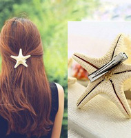 2634 Free shipping natural real starfish hairgrips hairpins hair clips accessories for ladies