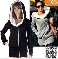 Free shipping Jacket Coat Womens Sweater Hoodie Zip Top Grey Black ,Size M-XXL