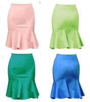 New 2014  Elegant Women's A-line Skirts Bust  Slim Hip  Skirts High Waist Ruffles Fishtail Plus Size Bud Skirts