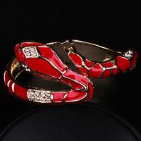 Punk styel Snake Inlay Rhinestone Alloy Enamel Bangle Handmade Bracelet For Women Jewelry  Fashionable 4 Color