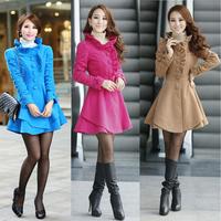 Wool & Blends Korean Version of Slim Long Coat Jacket New Nizi Big Yards Ladies Wool Blends For Women Flouncing High Collar