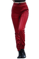NEW Brand Red Black faux leather jogging pants faux leather sweatpants joggers pants street fashion women woman Slim pants
