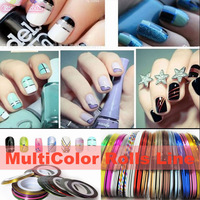 50pcs Mixed Color Rolls Striping Tape Metallic Yarn Line Nail Art Decoration Sticker DIY Free Shipping