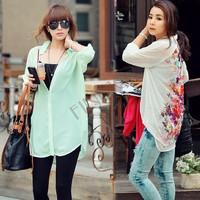 Europe Women's Fashion Loose Long Chiffon Floral Print Shirt Blouse Tops Drop shipping b11 16450