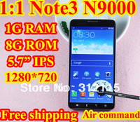 "Real 1:1 N9000 phone Note 3 phone 5.7"" 1280*720 IPS MTK6589 Quad core Android 4.3 mobile phone 1g Ram Note iii Remote OTG 3G GPS"