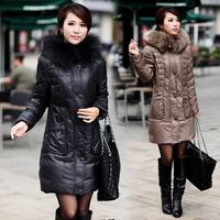 2014 New Winter Woman brand Duck Down Coat  Plus Size Thickening Parkas Natural Fur Collar Jacket  women down parkas 4xl 5xl 6xl