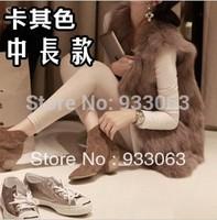 Free shipping  2013 Fashionable faux fox fur wool vest outerwear medium-long mink waistcoat  female Europe imitation rabbit