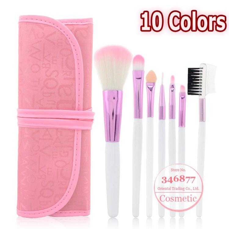Makeup Tools 7pcs Classical Practice Makeup Brushes Set, Pink Makeup Brush with Makeup Brushes Case,Free shipping!(China (Mainland))