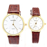 baishuns brand Leather Strap Watches Genuine Ultra-thin Popular Quartz Lovers watch Men women dress watches Girl Unisex Wrist
