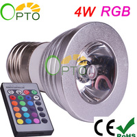 Free shipping 2 pcs/lot 4W AC 85-265V E27 RGB LED Bulb 16 Color Change Lamp Spot Light for Home Party decoration with IR Remote