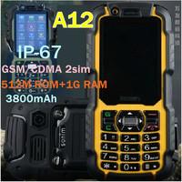 Gift phone bag 2014 Outdoor A12 IP-67 Waterproof phone GSM/CDMA Shockproof Dustproof dual sim 2MP 512M ROM/1G 3800mAh A8i h1+ v5