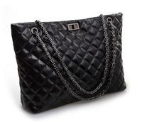 Women's classic plaid handbags shoulder bags lady big chain genuine leather handbag women's vintage  bag cowhide leather