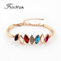 Designer Jewelry 18K Platinum Plated Alloy Colorful Austrian Crystal Cuff Water Drop Charm Women Bracelets & Bangles