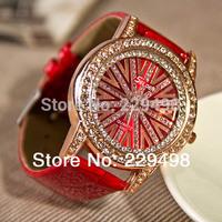 Free shipping Retail 5 Colors 2014 New Women's Watch, Rhinestone Diamond Ladies Quartz Wrist Leather Strap Fashion Dress Watches