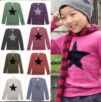 Free Shipping 2013 new autumn-summer Cotton Five-pointed star long sleeve Tops Tees Baby children t shirts wholesale 5pcs/lot