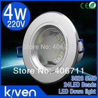 10pcs/lot Kiven SMD 3528  4w led downlight AC220v  Presion Aluminum 100 -120 degrees stronger brightness CE&ROHS Free shiping
