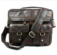 Brand Vintage Casual 100% Genuine Cowhide Crazy Horse Leather Men Business Handbag Messenger Shoulder Bag Bags Breifcase For Men