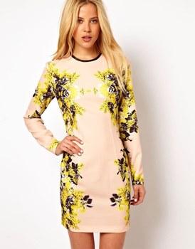 2013  Winter / Autumn Vintage Bohemian Style  With O-Neck bandage  long sleeve print  flower dresses women Free shipping