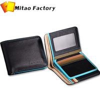 2014 Free Shipping Promotion10% Off  Amazing Colorful Matched Cowhide Leather men wallets High Quality Men Purse Gift